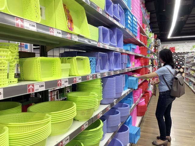 Plastic products at a supermarket in HCM City. The plastic industry is very hopeful of meeting this year's export target of $3.2 billion.